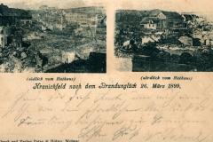 Kranichfeld nach dem Brandunglück 26. März 1899 - südlich & nördlich vom Rathaus - Druck und Verlag Putze & Hölzer, Weimar
