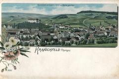 Kranichfeld mit Niederschloss von Westen gesehen - Lith. Kunstanstalt Carl Garte, Leipzig