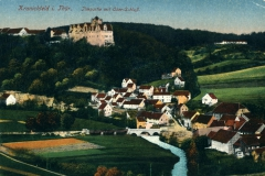 Kranichfeld i. Thür. - Ilmpartie mit Ober-Schloss -  Lith. Kunstanstalt Carl Garte, Leipzig