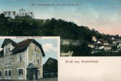 Gruß aus Kranichfeld, Blick vom Bremer-Hof nach dem Oberschloß, Gasthaus zum Bremerhof - Herausgeber unbekannt