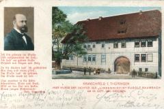 """Kranichfeld i. Thüringen, Hier wurde der Dichter der """"Lindenwirtin"""" Rudolf Baumbach am 28. September 1840 geboren - Karl Schüffler, Kranichfeld"""
