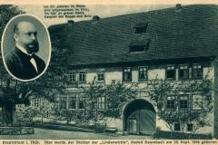 """Kranichfeld i. Thüringen, Hier wurde der Dichter der """"Lindenwirtin"""" Rudolf Baumbach am 28. September 1840 geboren - Paul Lindig, Kranichfeld"""
